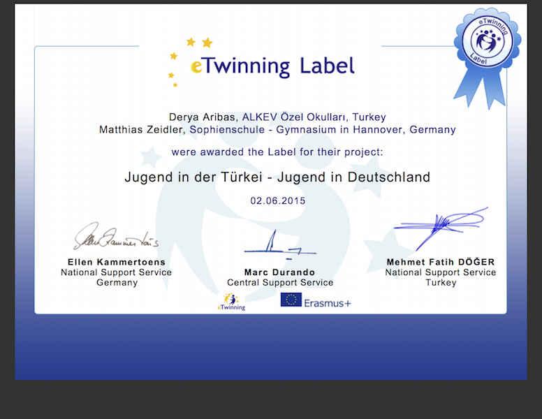 Hannover Sophienschule – ALKEV Lisesi projesinin resmi sertifikası