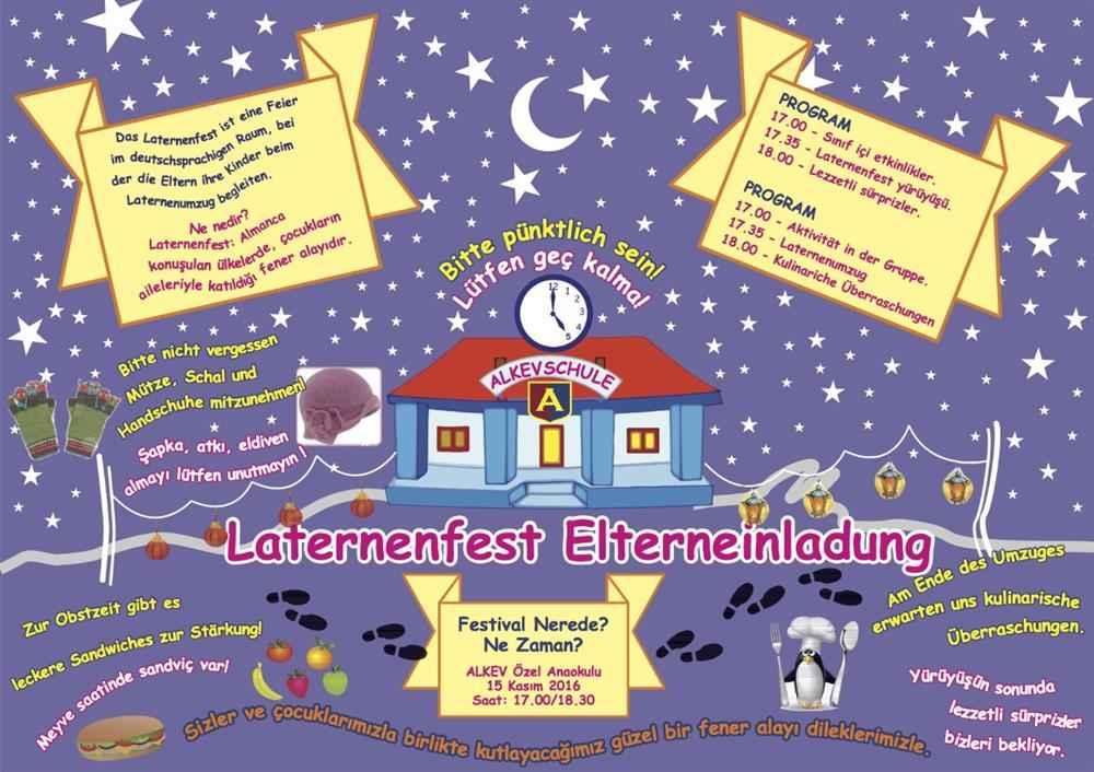 15 Kasım Anaokulu Laternenfest Davetiyesi