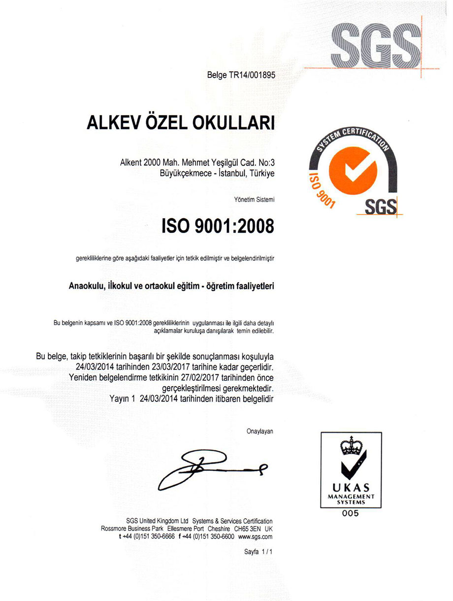 ALKEV Özel Okulları ISO9001 Kalite Yönetim Sistemi